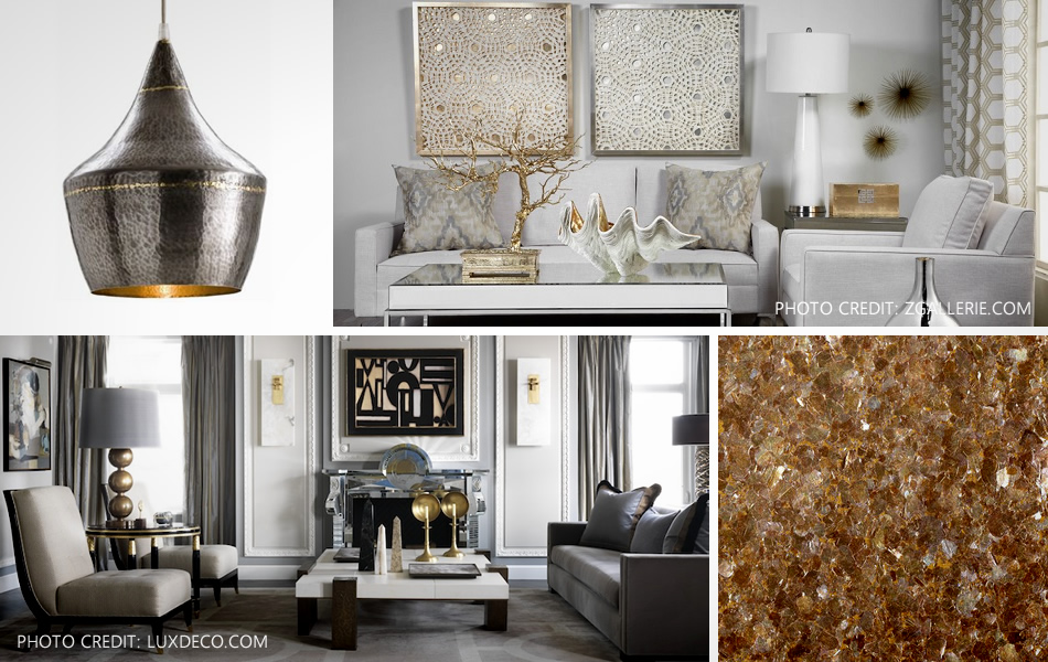 interior design with metals and metallics
