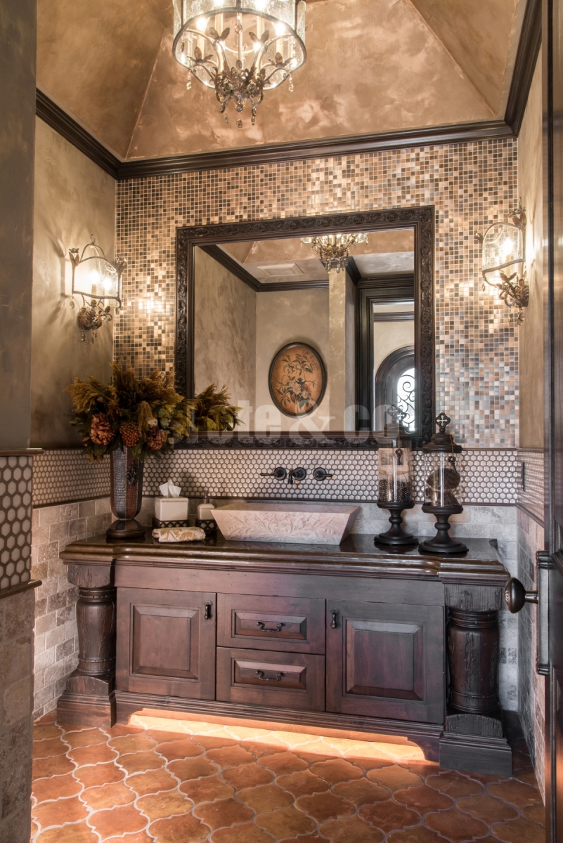 Powder room design with pavilion ceiling and lighting detail