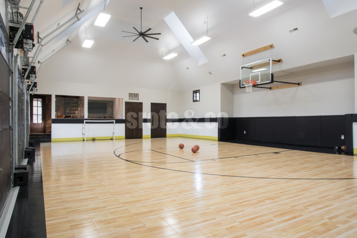 Indoor basketball court attached to home
