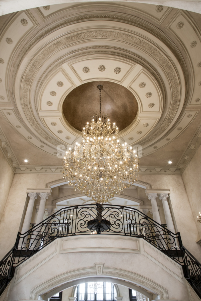 Foyer chandelier with domed ceiling medallion design