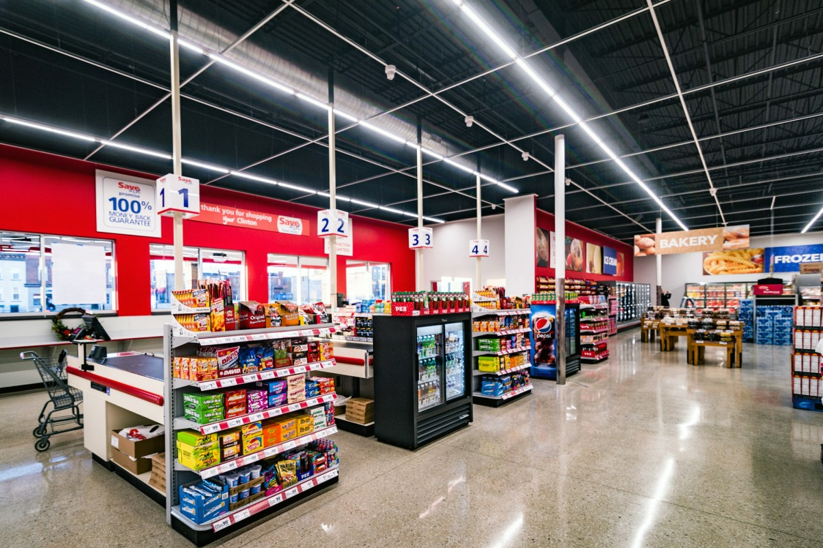 Interior retail space of Save-A-Lot grocery store design